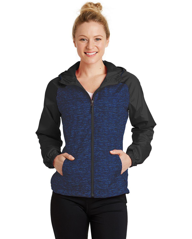 Sport-Tek LST40 Ladies Heather Colorblock Raglan Hooded Wind Jacket