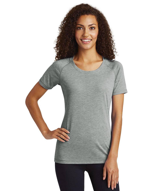 Sport-Tek LST400 Ladies Posi Charge Tri-Blend Wicking Scoop Neck Raglan T-Shirt