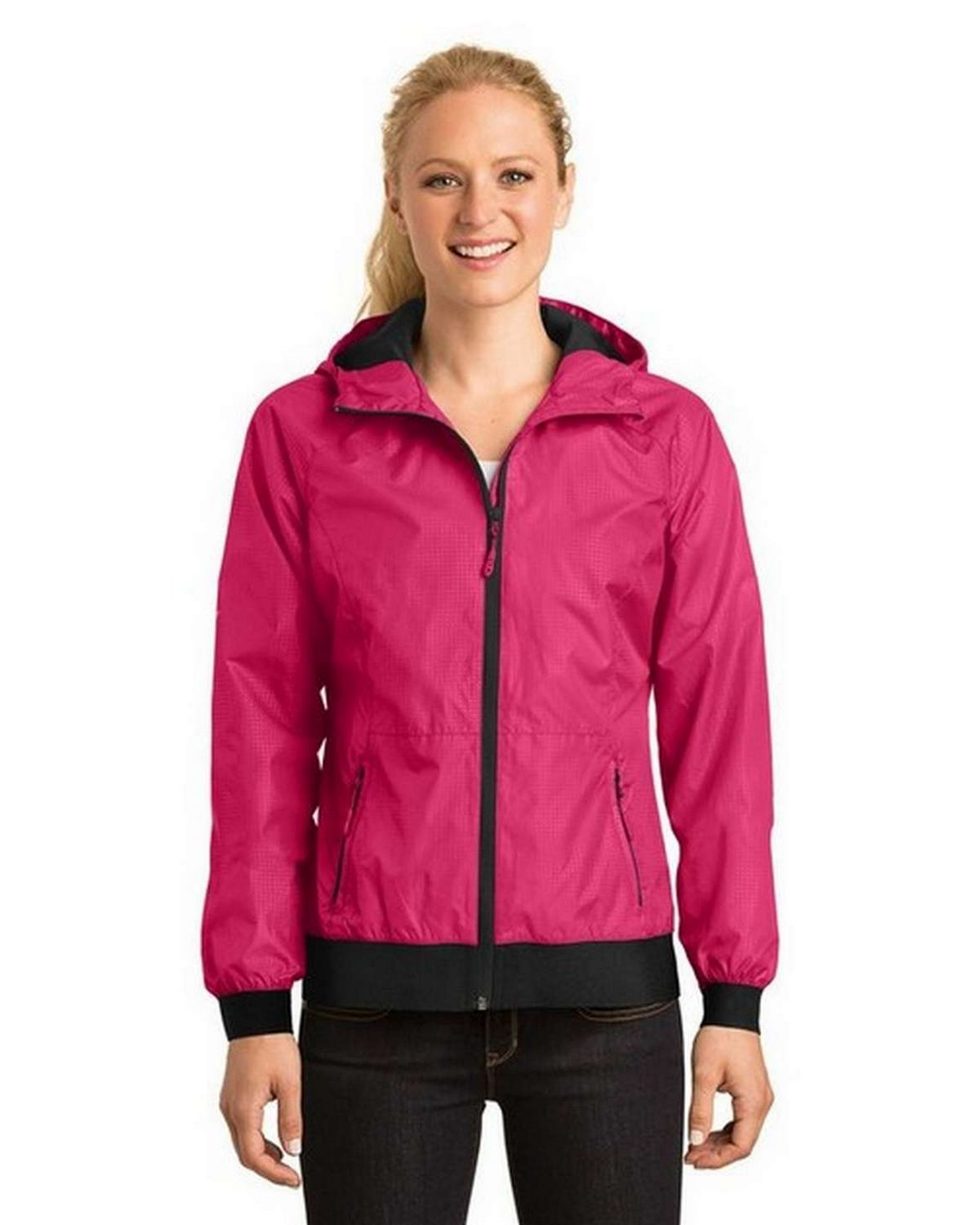 Sport-Tek LST53 Ladies Embossed Hooded Wind Jacket