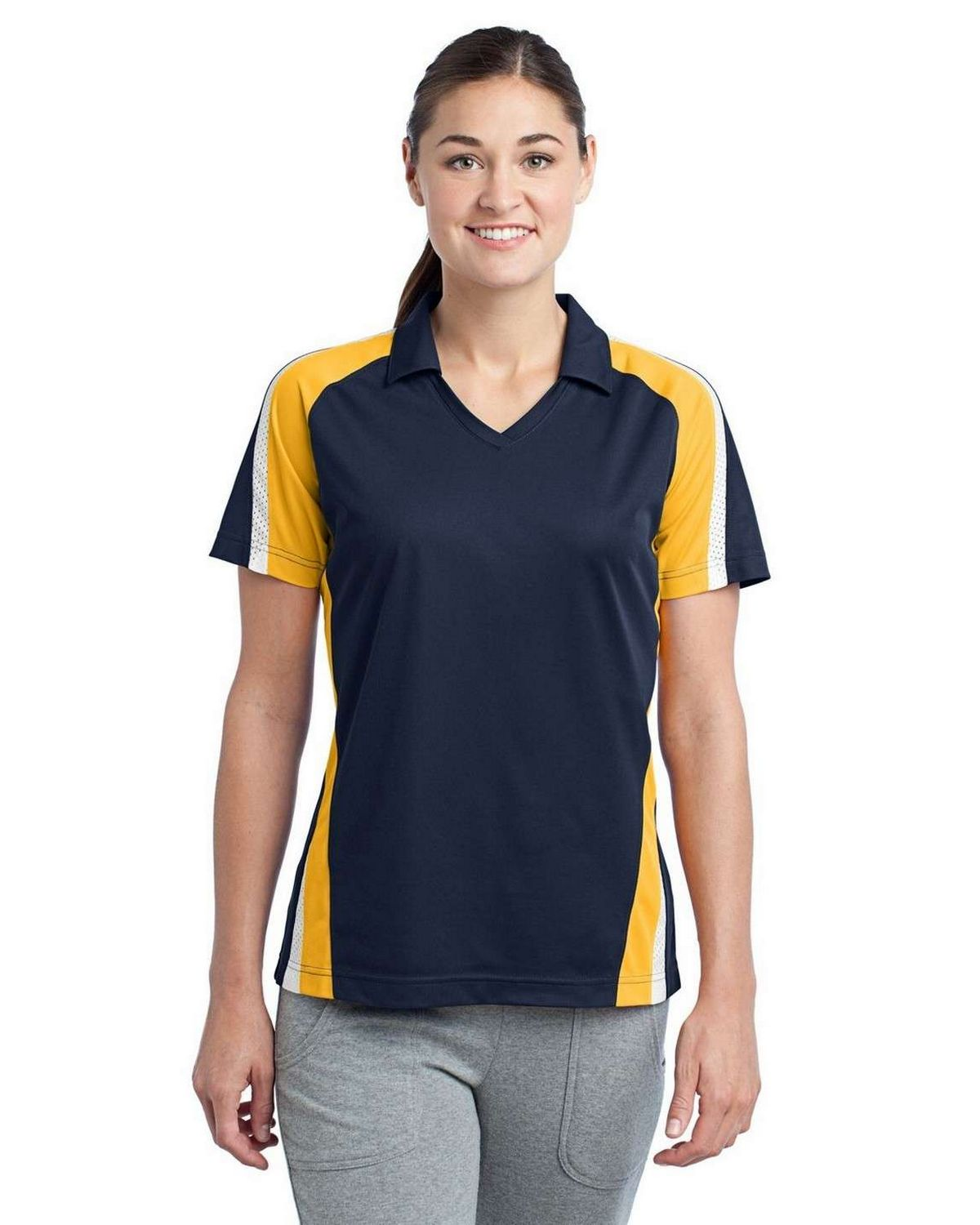 Sport-Tek LST654 Ladies Tricolor Micropique Sport-Wick Polo