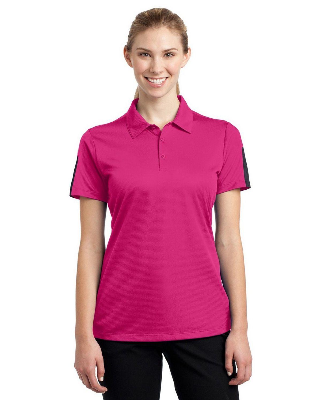 Sport-Tek LST695 Ladies Active Textured Colorblock Polo
