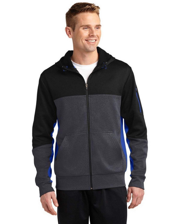 Sport-Tek ST245 Tech Fleece Colorblock Full-Zip Hooded Jacket