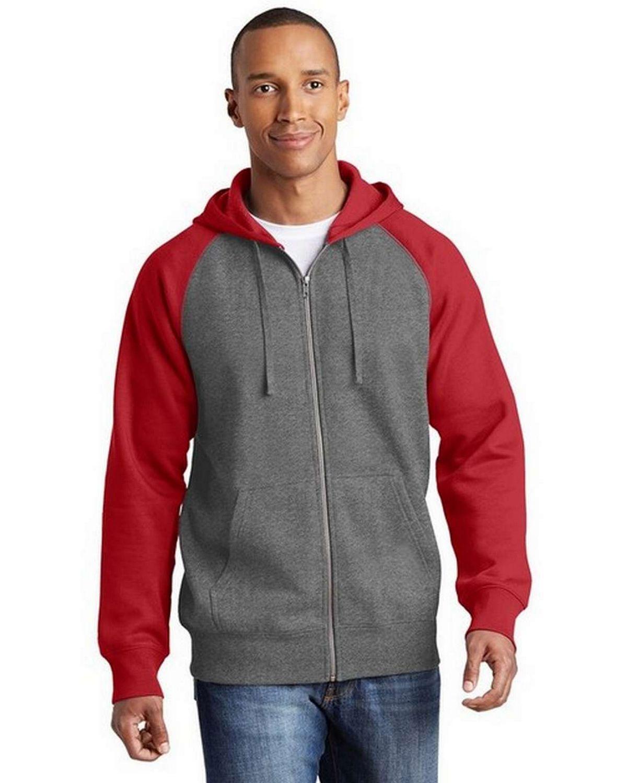 Sport-Tek ST269 Raglan Colorblock Full-Zip Hooded Fleece Jacket