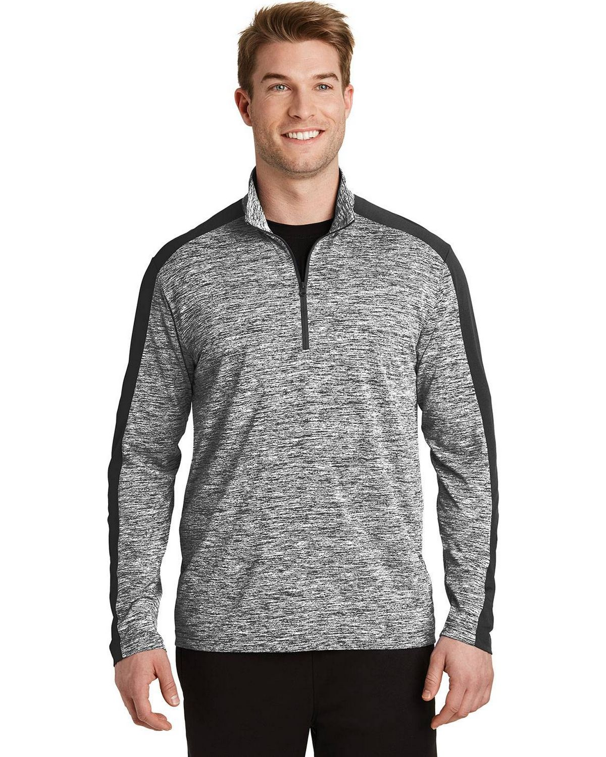 Sport-Tek ST397 Mens Posi Charge Electric Heather Color block 1/4 Zip Pullover