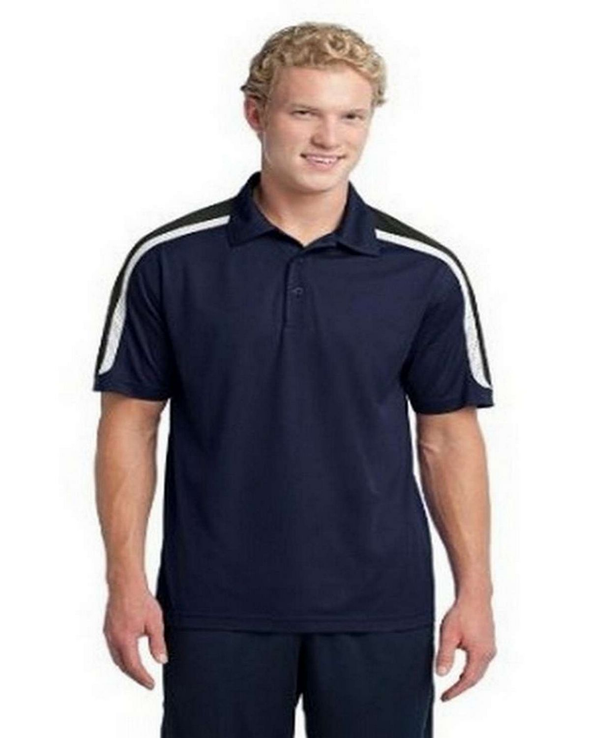 Sport-Tek ST658 NEW Tricolor Shoulder Micropique Sport-Wick Polo