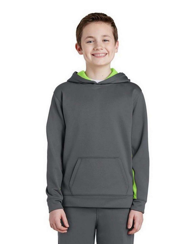 Sport-Tek YST235 Youth Sport-Wick Fleece Colorblock Hooded Pullover