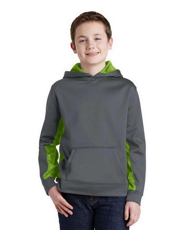 Sport-Tek YST239 Youth Sport-Wick CamoHex Fleece Colorblock Hooded Pullover