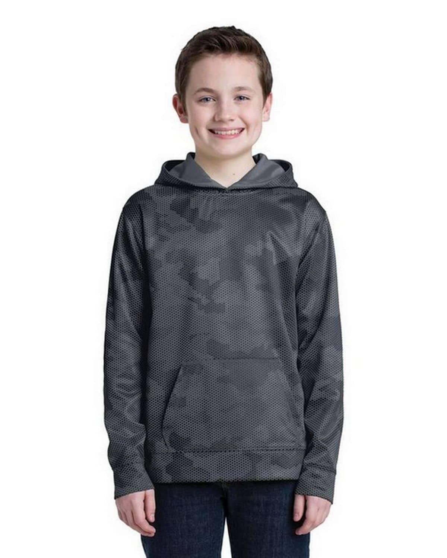 Sport-Tek YST240 Youth Sport-Wick CamoHex Fleece Hooded Pullover