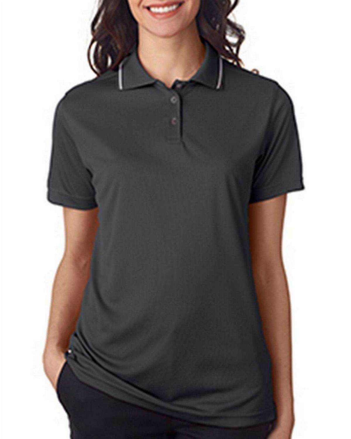 Ultraclub 8394L Ladies Polo with Tipped Collar
