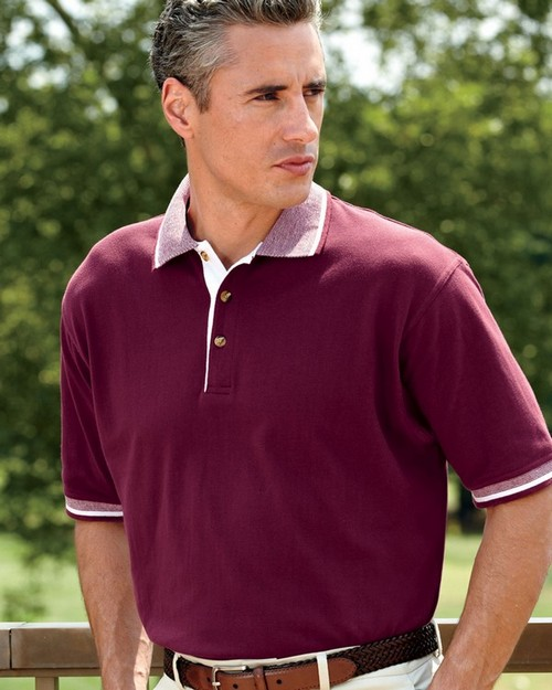 UltraClub 8537 Adult Color-Body Classic Piqu Polo with Contrast Multi-Stripe Trim