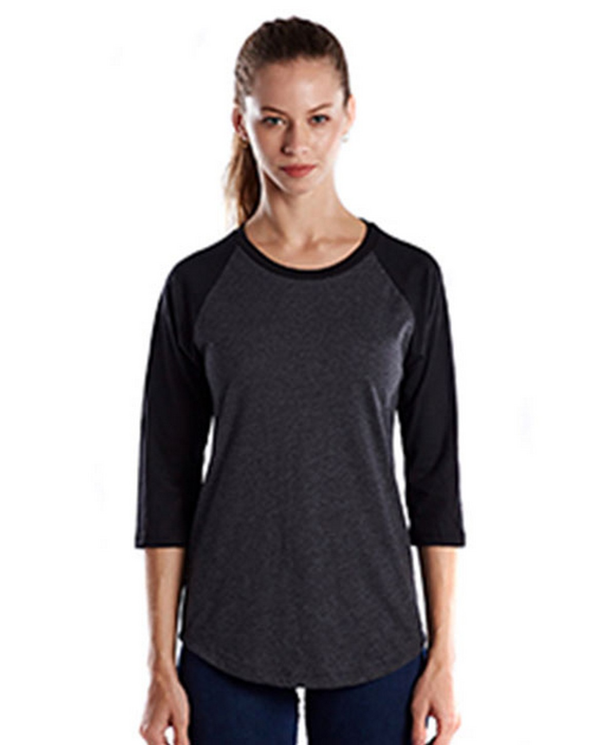 US Blanks US600 Ladies 4.3 oz. 3/4-Sleeve Baseball Raglan